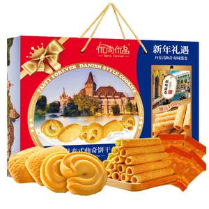 丹麦风味曲奇饼干鸡蛋卷过年货置办春节送礼盒装1008g零食大礼包